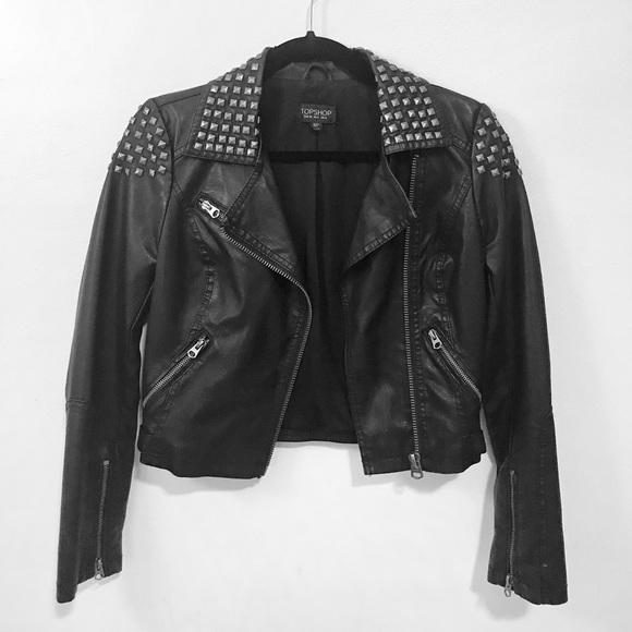 Topshop Jackets & Blazers - Topshop Black Faux Leather Biker Jacket